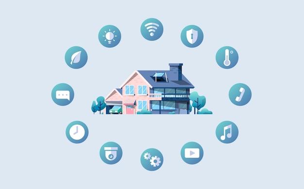 Pacchetto di vettore casa intelligente con icone Vettore gratuito