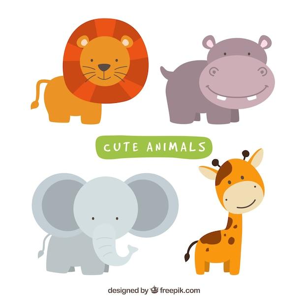 Pacchetto divertente di animali selvaggi di smiley Vettore gratuito