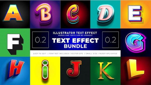 Pacchetto effetto testo moderno 2 Vettore gratuito