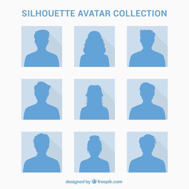 Pacchetto elegante di avatar di silhouette Vettore gratuito