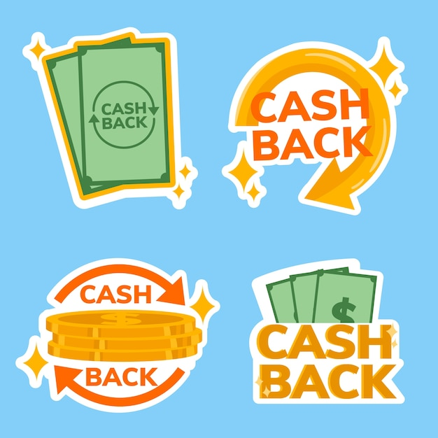 Pacchetto etichette cashback Vettore gratuito