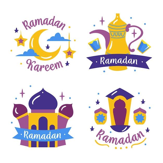 Pacchetto etichette ramadan Vettore gratuito