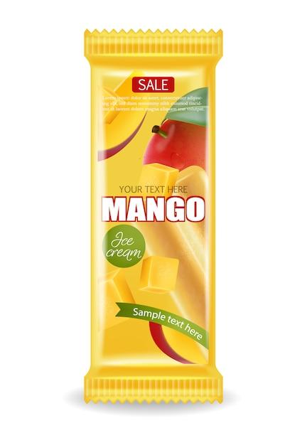 Pacchetto gelato al mango Vettore Premium