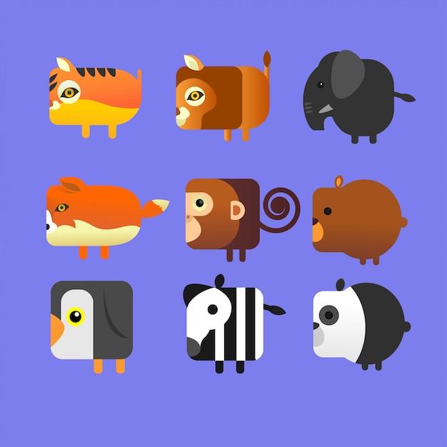 Pacchetto icona animale quadrata Vettore Premium