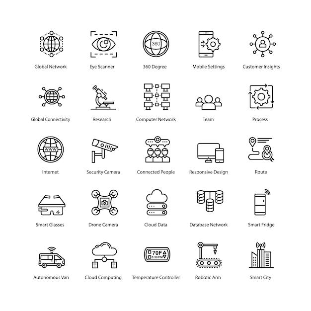 Pacchetto icone internet of things Vettore Premium