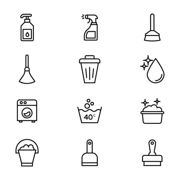 Pacchetto icone linea pulizia domestica Vettore Premium