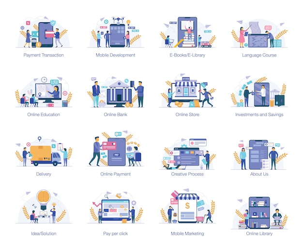 Pacchetto illustrazioni piatto business Vettore Premium