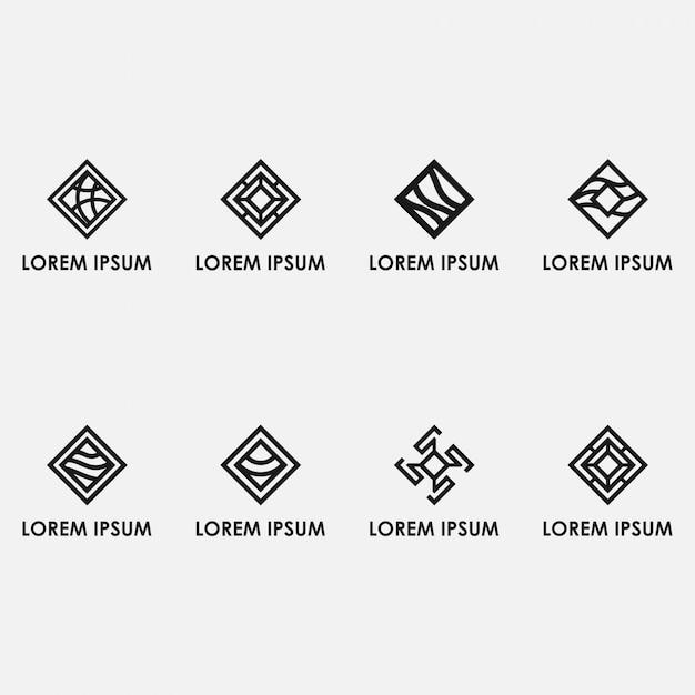 Pacchetto logo astratto linea quadrata Vettore Premium