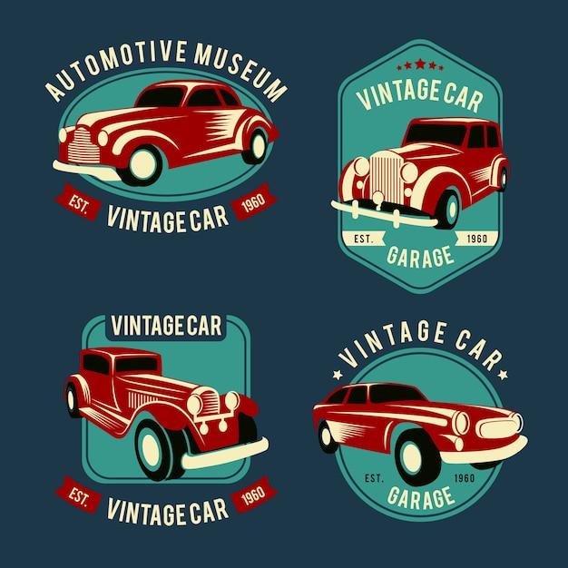 Pacchetto logo auto d'epoca Vettore gratuito