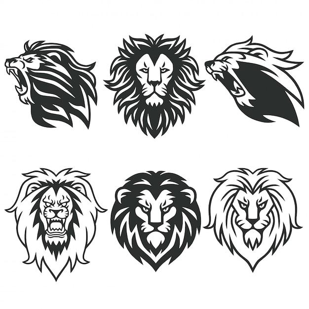 Pacchetto logo lion Vettore Premium