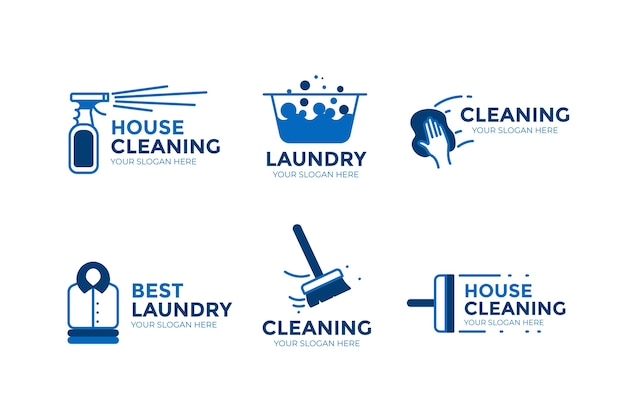 Pacchetto logo pulizia Vettore gratuito