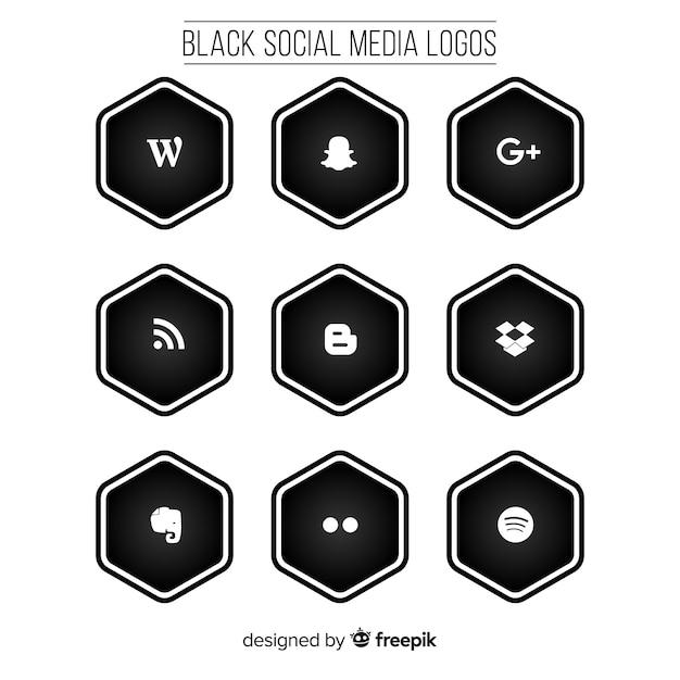 Pacchetto logo social media nero Vettore gratuito