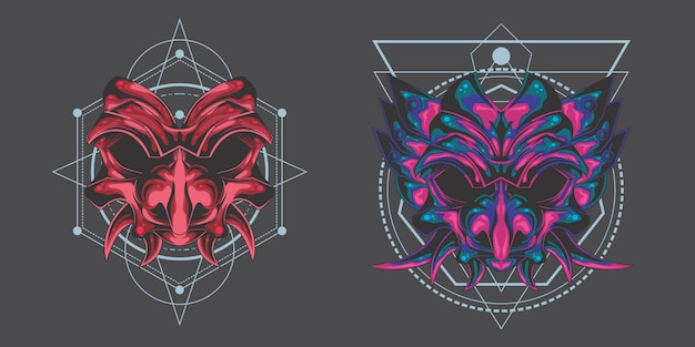 Pacchetto maschera demoniaca Vettore Premium