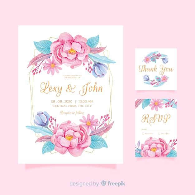 Pacchetto modello di elementi decorativi di nozze floreali Vettore gratuito