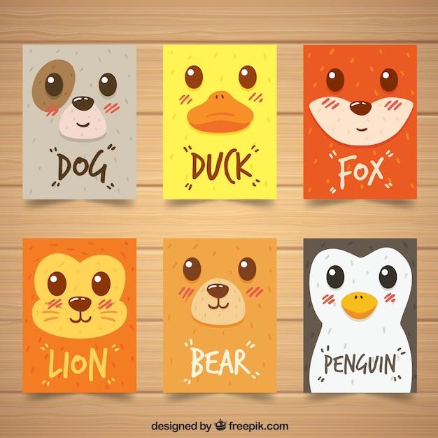 Pacchetto moderno di carte con volti di animale Vettore gratuito