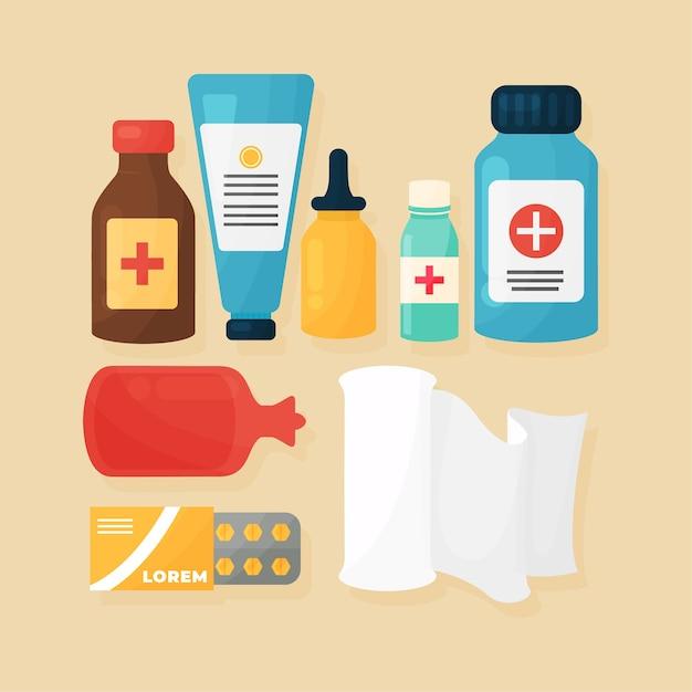 Pacchetto oggetti farmacista Vettore gratuito