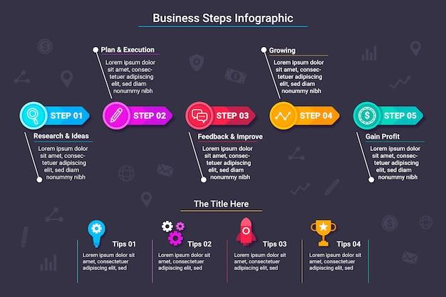 Pacchetto passi infografica Vettore gratuito