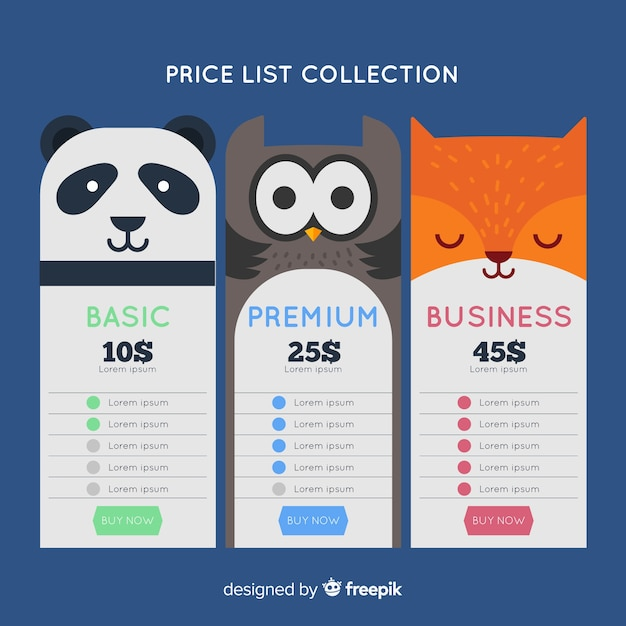 Pacchetto prezzi animali Vettore gratuito