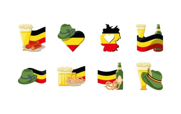 Pacchetto stabilito dell'icona di varietà germania Vettore Premium