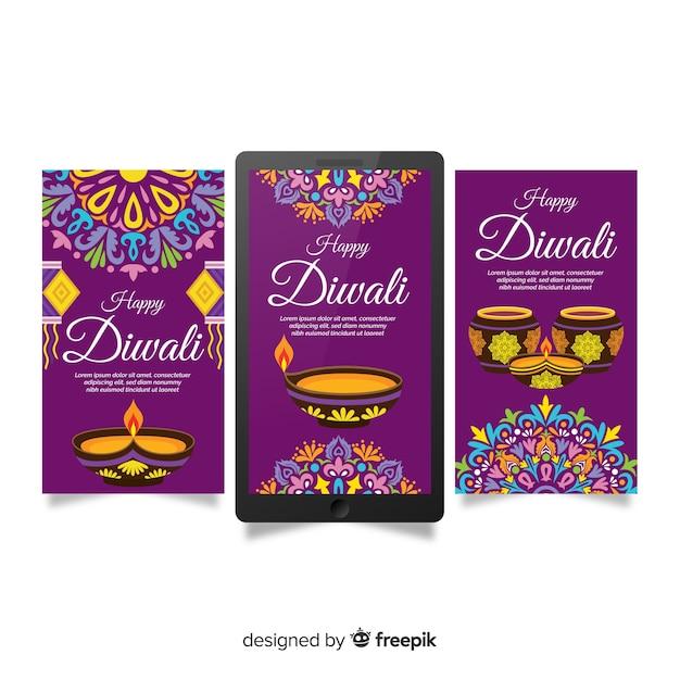 Pacchetto storie di diwali instagram Vettore gratuito