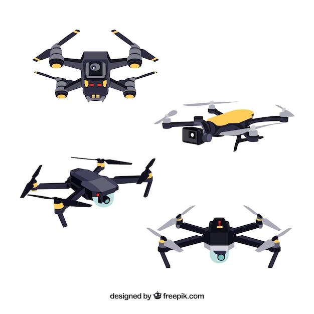 Pacchetto tecnologico di moderni droni Vettore gratuito