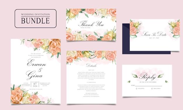 Pacco della carta dell'invito di nozze con il modello floreale e delle foglie dell'acquerello Vettore Premium