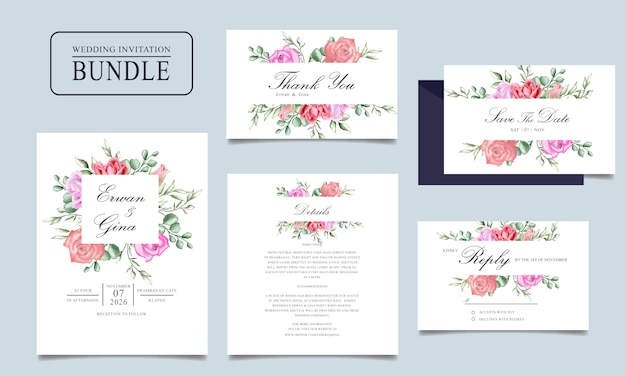 Pacco della carta dell'invito di nozze dell'acquerello con il modello floreale e delle foglie Vettore Premium