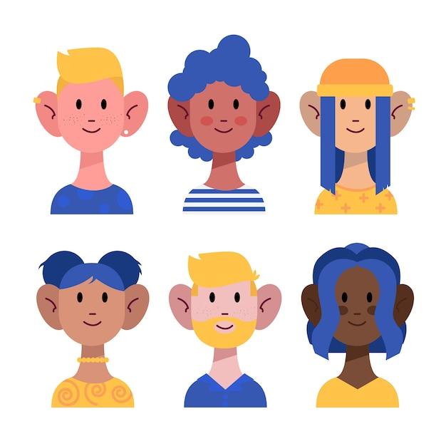 Pack di avatar di persone diverse Vettore gratuito