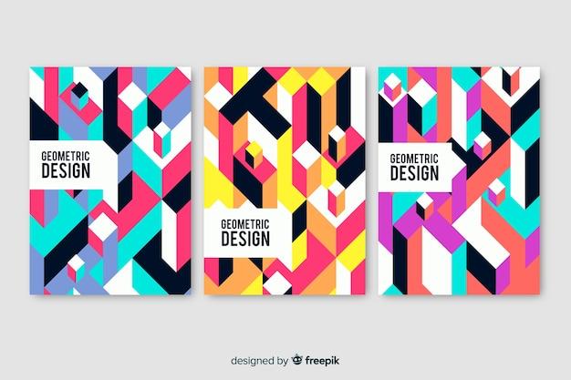 Pack di copertine dal design geometrico Vettore gratuito