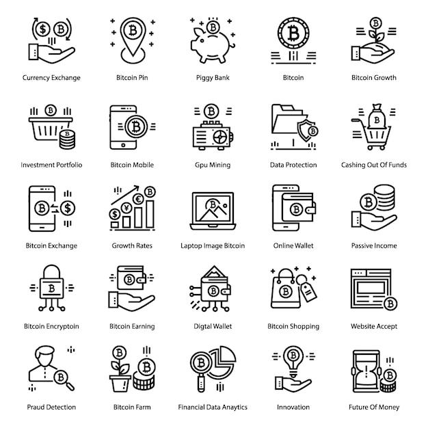 Pack di icone bitcoin line Vettore Premium