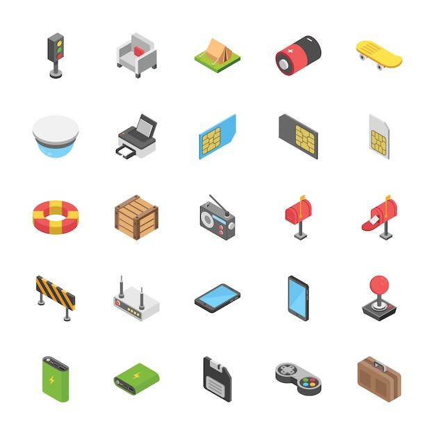 Pack di icone di oggetti Vettore Premium