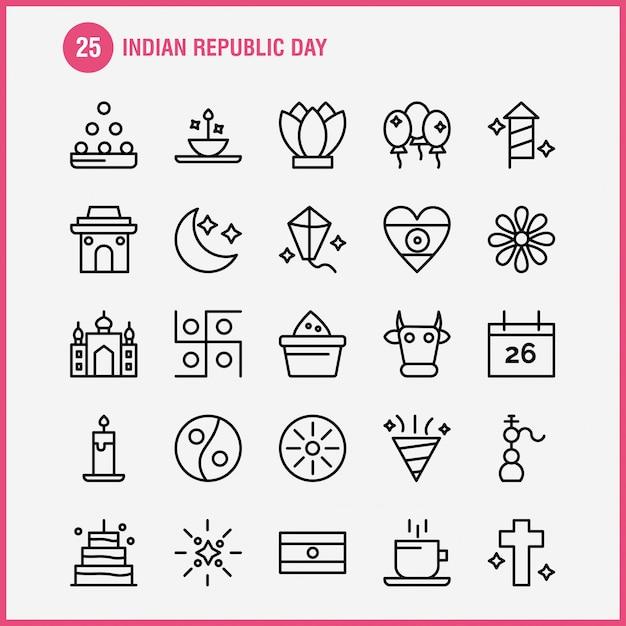 Pack di icone linea giorno della repubblica indiana Vettore Premium