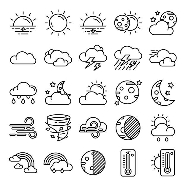 Pack di icone meteo Vettore Premium