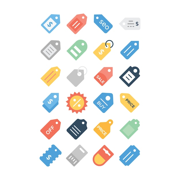 Pack di icone piane del prezzo da pagare Vettore Premium