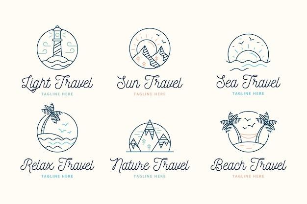Pack di loghi di viaggio minimalista creativo Vettore gratuito