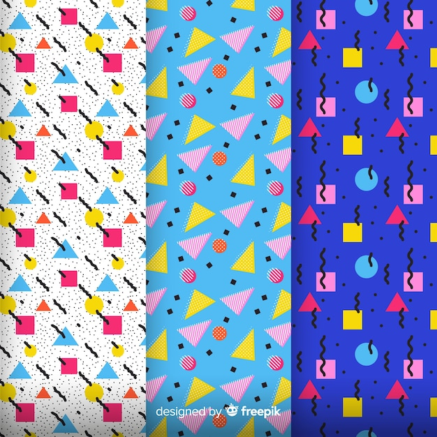 Pack di pattern colorati di memphis Vettore gratuito