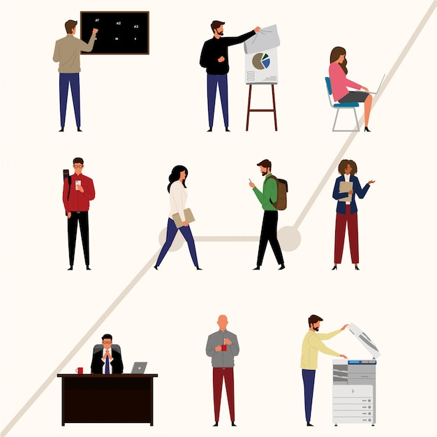 Pack di personaggi dell'imprenditore in design piatto Vettore Premium