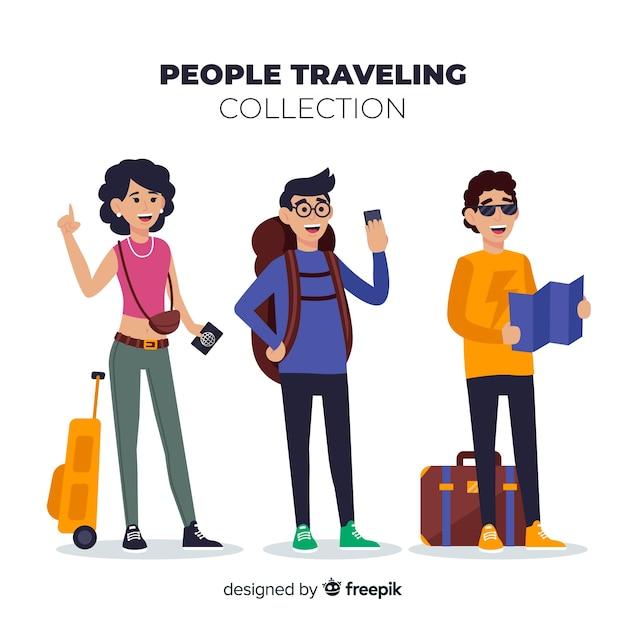 Pack di persone disegnate a mano in viaggio Vettore gratuito