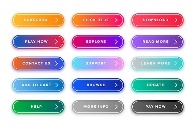 Pack di pulsanti web colorati per scopi diversi Vettore gratuito
