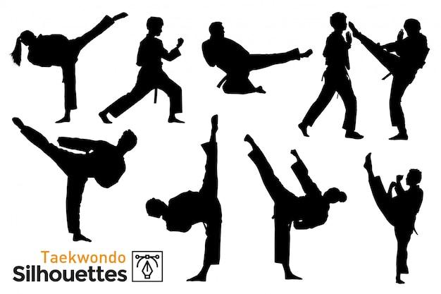 Pack di sagome di taekwondo. Vettore Premium