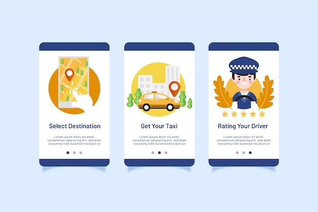 Pack di schermate dell'app per l'onboarding del servizio taxi Vettore gratuito