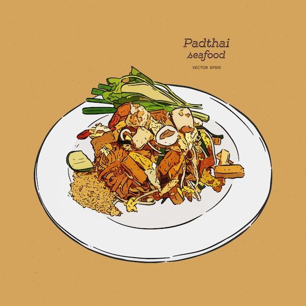 Pad-thai, cibo tailandese. Vettore Premium