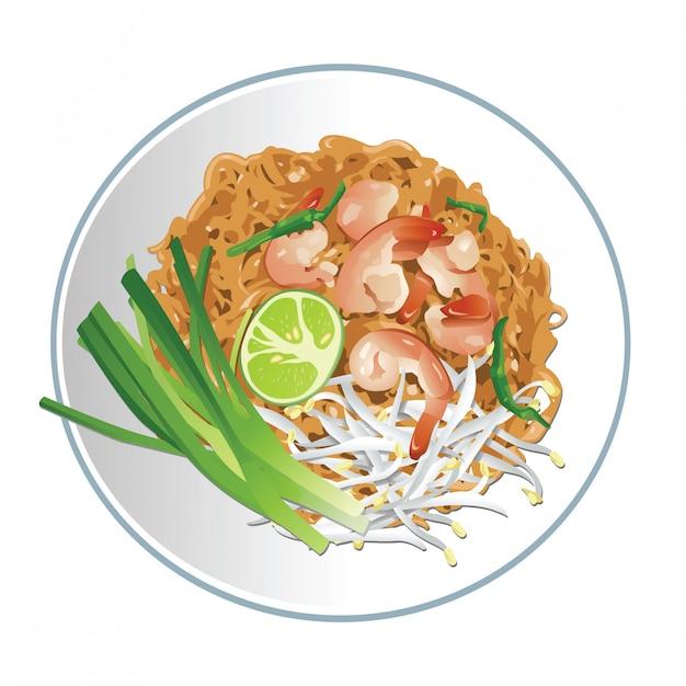 Pad thai famoso cibo tailandese Vettore Premium