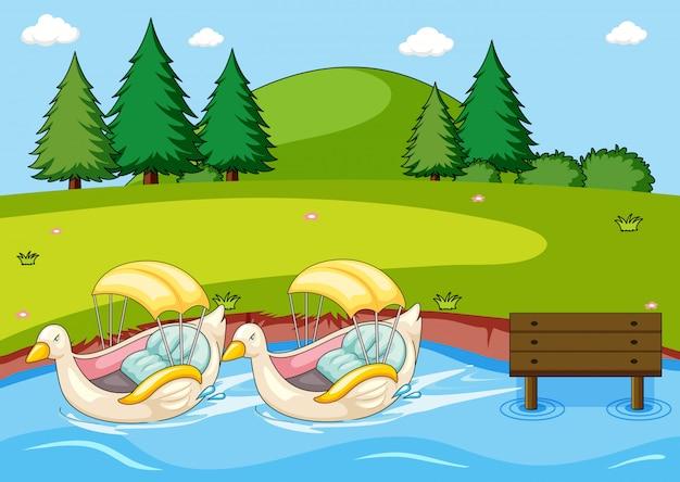 Paddle duck boat nel parco Vettore gratuito