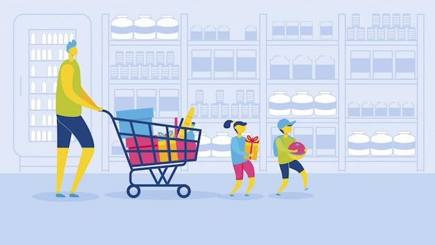 Padre con figlia e figlio shopping supermercato Vettore Premium