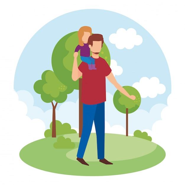 Padre con la figlia nel parco Vettore gratuito