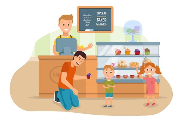 Padre e bambini che visitano l'illustrazione del negozio del forno Vettore Premium