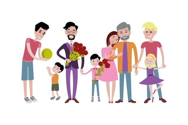 Padre e figli insieme carattere vettoriale. Vettore Premium