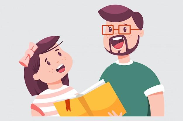 Padre e figlia stanno leggendo un libro. l'uomo insegna a un bambino a leggere. illustrazione piana del fumetto di vettore isolata Vettore Premium