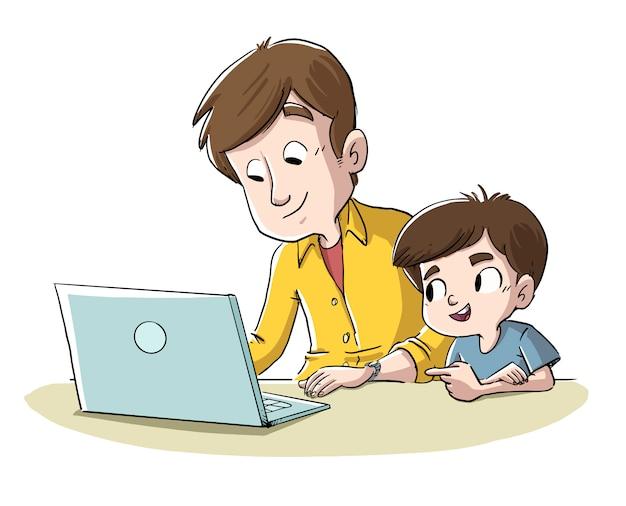 Padre e figlio con il computer Vettore Premium